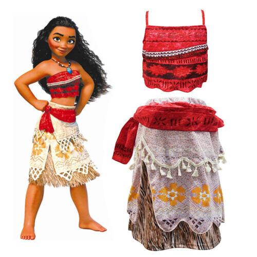 New Kids Costume Moana Princess Girl Cosplay Fancy Dress Deluxe Dress Xmas 3-10Y