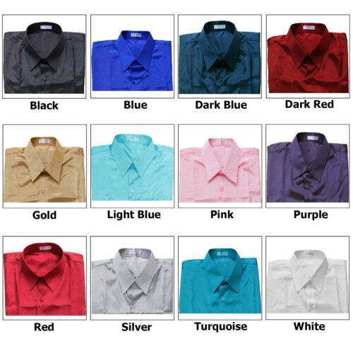XXXL Mens Thai Silk Shirts Short Cerulean Blue Long //S Mandarin Collar