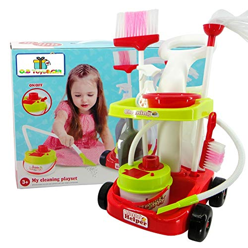 8 Piece Kids Cleaning Set Toy Vacuum Cleaner /& Accessories O.B Toys/&Gift Kids Cleaning Vacuum Set Little Helper Pretend Children Cleaning Play Set w// Trolley