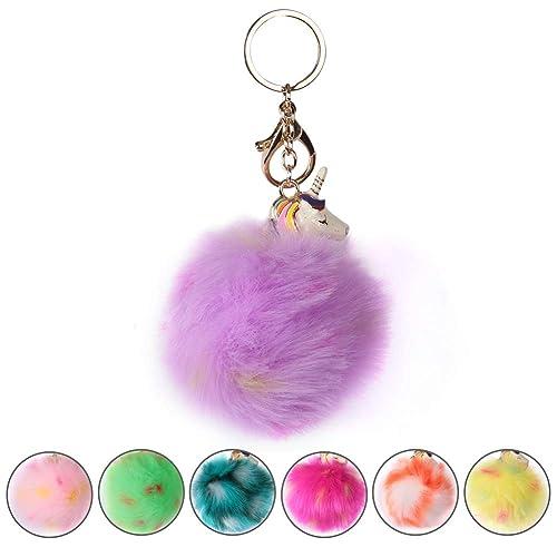 Pom Pom Keychain Artificial Fur Ball Keychain Fluffy Accessories Car Bag Charm