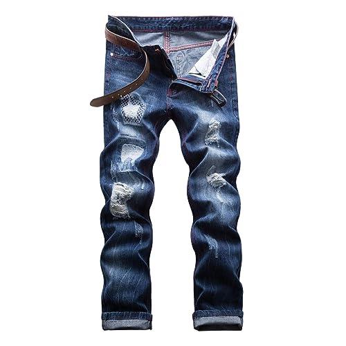 WEEN CHARM Mens Slim Fit Jeans Destroyed Ripped Skinny Denim Jeans Biker Pants