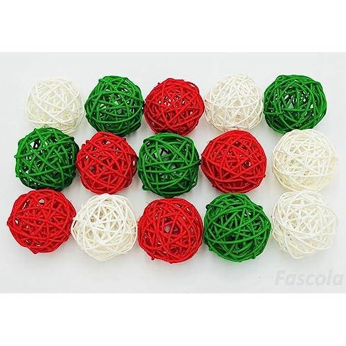 Decorative Wicker Balls Bowl Filler Home Decor 16-Piece Assorted Green