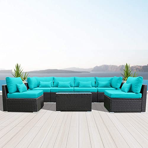 Modenzi 7g U Outdoor Sectional, Turquoise Outdoor Furniture