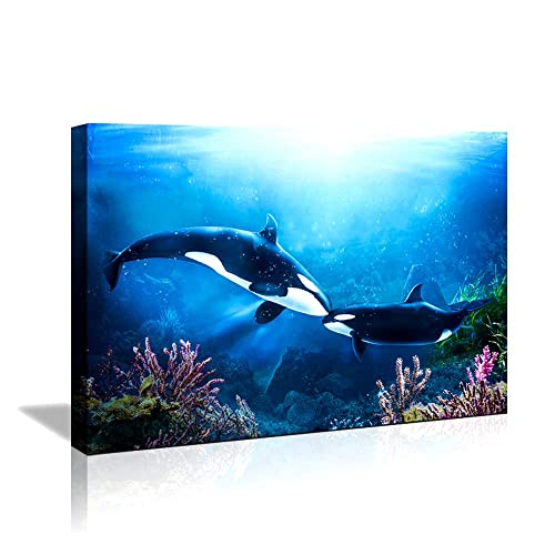 Buy Wall Decor For Bathroom Wall Decor Modern Girls Room Decor Artwork Framed Wall Art Blue Dolphins Canvas Prints Wall Decorations For Bedroom 8 X10 Nautical Theme Dolphins Bathroom Decor For Walls Online In