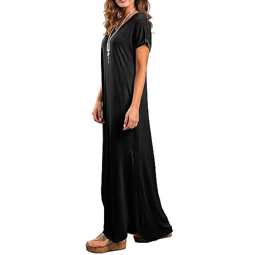 8c9295d2329f PrevNext. PrevNext. GRECERELLE Women's Casual Loose Pocket Long Dress Short Sleeve  Split Maxi Dresses