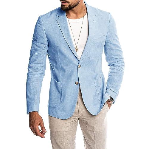 Mens Standard-Fit Linen Blazer Casual Linen Tailored Blazer Long Sleeve Two-Button Lightweight Suit Jacket