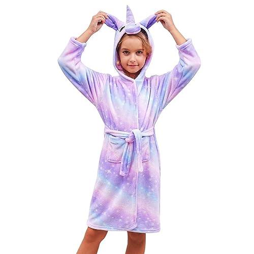 Colorful Unicorn Bathrobe Soft Unicorn Hooded Set Sleepwear for Girls Doll with Greeting Card