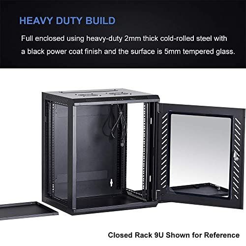 Data Network Enclosure 19-Inch Server Network Rack with Locking Tempered Glass Door KENUCO Deluxe IT Wall Mount Cabinet 12U, Black Fully Assembled Server Rack