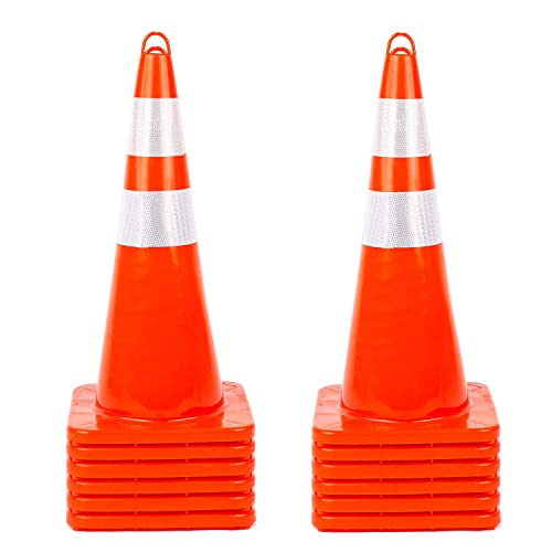 Unbreakable PVC Orange Construction Cone for Traffic Control 10 Pack Traffic Safety Cones 28 inches with Reflective Collars Driveway Road Parking