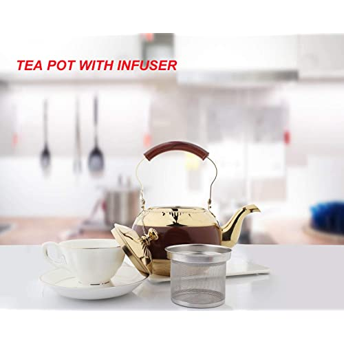 OMGard Gold Tea Pot with Infuser Loose Tea Leaf 2 Liter Stainless Steel Teapot Coffee Water Small Kettle Filter Set Warmer Teakettle for Stovetop Induction Stove Top 2.1 Quart 68 Ounce