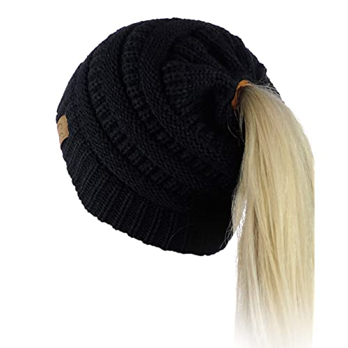 eaf3861e21523 Buy C.C BeanieTail Soft Stretch Cable Knit Messy High Bun Ponytail Beanie  Hat with Ubuy India. B01N5T4GLI