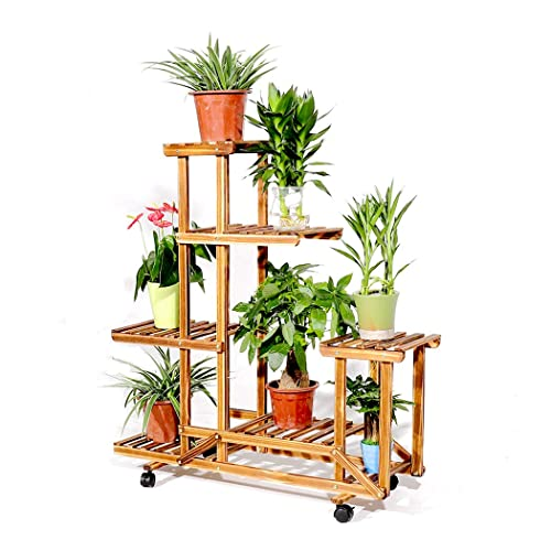 Rolling Plant Stand Natural Wood 6 Tier Plant Rack With Wheels Indoor Outdoor Plant Display Patio Stand Bonsai Pots Flowers Shelf For Home Garden Decor Buy Products Online With Ubuy India
