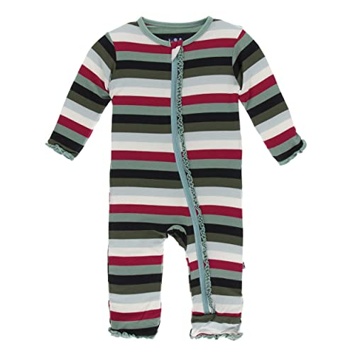 12-18 Months, Dusty Sky Astronaut KicKee Pants Print Footie with Zipper