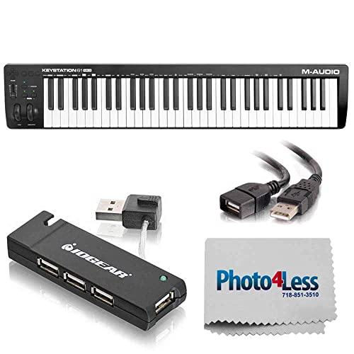 Dual MIDI Cable M-Audio Code 49 Black + Keyboard Stand//Bench Pak with Sustain Pedal 49-Key USB MIDI Keyboard Controller with X//Y Touch Pad 16 Drum Pads // 9 Faders // 8 Encoders Top Value Kit!!