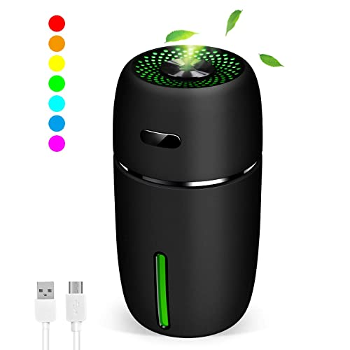 180ml Pink NovoLido Mini USB Humidifier with 7 LED Warm Lights Quiet Operation and Auto Timer Shut-Off Small Humidifier for Desk Travel Office Car Bedroom Portable and Personal Humidifier