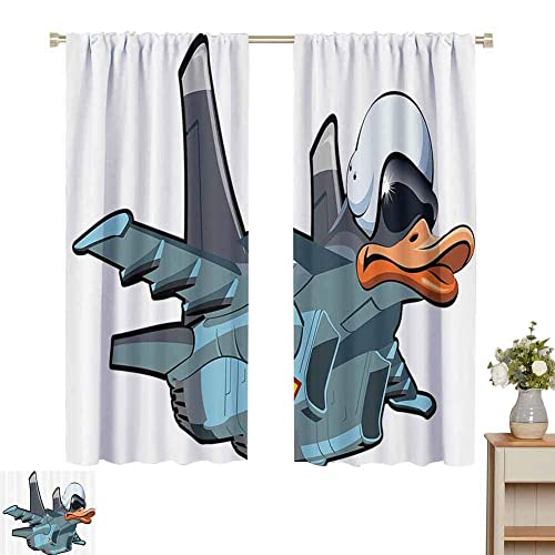 Airplane Decor Collection Eclipse Blackout Curtains Jet Bird Angry Comic Aircraft Army German Pilot Helmet Duckling Funny Character Image Sliding Curtains For Patio Decor W52 X L63 Inch Grey White Buy