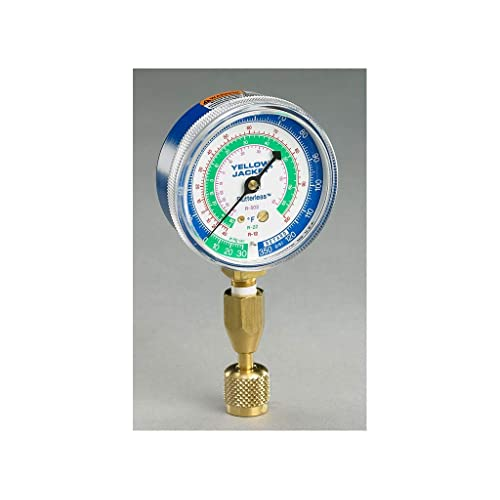 Yellow Jacket 49137 3-1//8 Red Pressure 0-800 psi R-22//404A//410A Gauge Degrees F