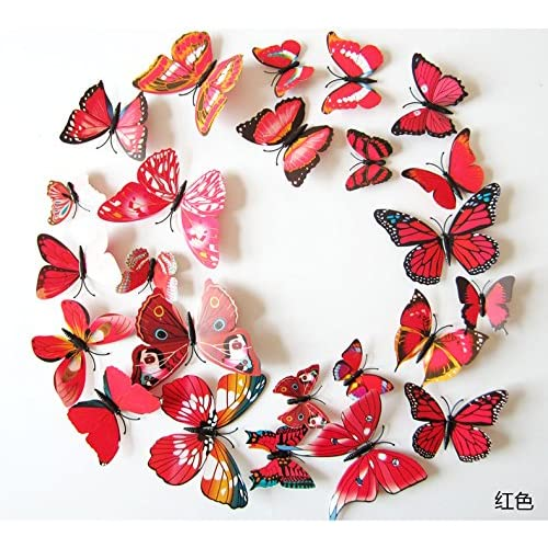 Buy Amaonm 60 Pcs 5 Packages Beautiful 3d Butterfly Wall Decals Removable Diy Home Decorations Art Decor Wall Stickers Murals For Babys Bedroom Tv Background Living Room Red Online In India B07cnw4z5c