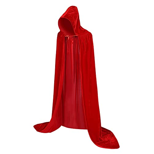 Hooded Cloak Long Velvet Cape Cosplay Costume Colors Wizard Raven Size L 150cm