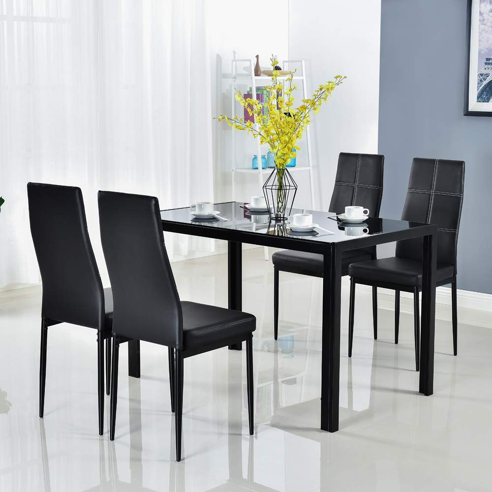 Glass Dinner Table Set: Buy Modern 5 Pieces Dining Table Set Glass Top Dining