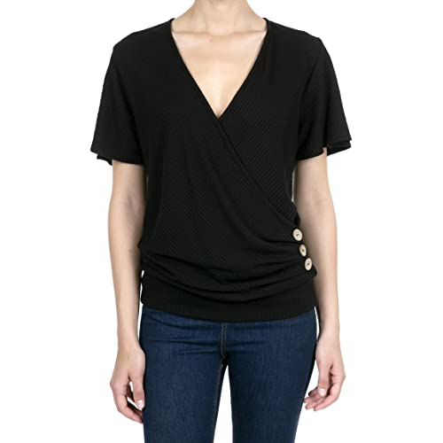 iliad USA Womens Deep V-Neck Short Sleeve Button Waffle Cross Wrap Tunic Tops