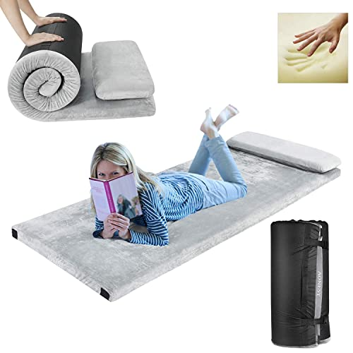 """Buy AONESY Memory Foam Camping Mattress, Roll-Up Floor Mattress for Sleep Guest Bed Car Mattress Sleeping Pad for Camping Beds for Adults 75""""x30""""x3"""",WaterproofLightweight with Pillow & Travel Bag Online in India. B07ZDY554D"""