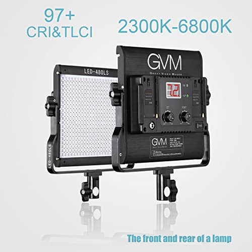 480LS-B3L 3 Kits GVM Led Video Light Panel Dimmable Bi-color Temperature 2300K-6800K CRI97 with Metal Housing Digital Display for Interview Youtube Outdoor Photography Lighting Kit Studio Lights