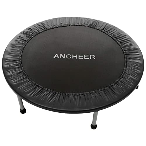 Renewed ANCHEER Mini Trampoline Rebounder for Adults Kids Fitness 50 Cardio Trampolines Trainer with Adjustable Handle Bar for Indoor//Outdoor//Garden//Yoga Workout Exercise