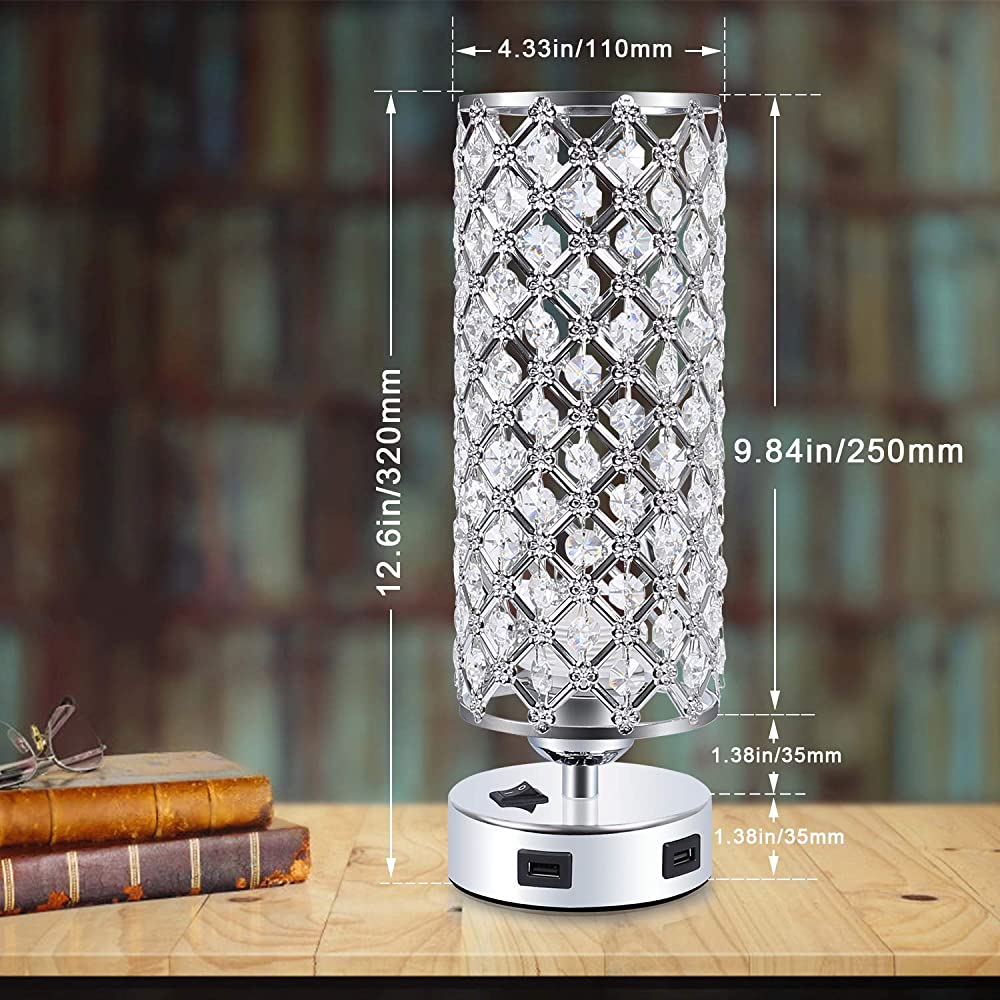 usb crystal table lampkakanuo bedside table desk lamp
