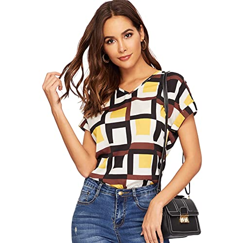 32f564192 Buy Romwe Women's Print Short Sleeve Tee Summer Casual Blouse Tops with  Ubuy India. B07PJKJFWY