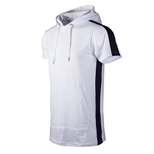 Pullover Hooded Fashion T-shirt w//Side Zipper SCREENSHOT Mens Hip Hop Longline Premium Tee