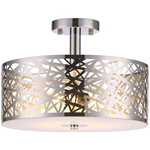 Buy Loclgpm Classic 2 Lights Nordic Chrome Finish Semi Flush Mount Ceiling Light Large Drum Chandelier Fixture With Metal Shade And Plug In Cord For Bedroom Bathroom Living Room Dining Room Hall Hallway Online In India B07wznj535