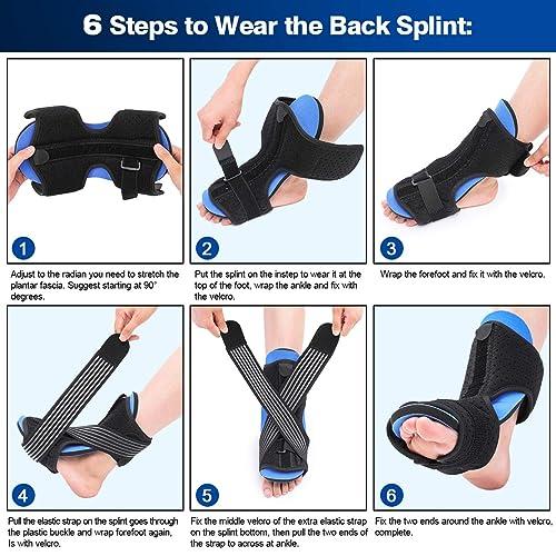 Effective Relief from Plantar Fasciitis Pain Heel Arch Foot Pain CHARMINER Plantar Fasciitis Night Splint Foot Drop Orthotic Brace Adjustable Elastic Dorsal Splint
