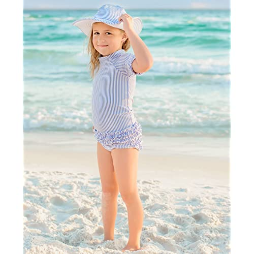 Sun Protection RGSSSXX-2R00-SC-TDLR RuffleButts Little Girls Seersucker Rash Guard 2-Piece Short Sleeve Swimsuit Set with UPF 50