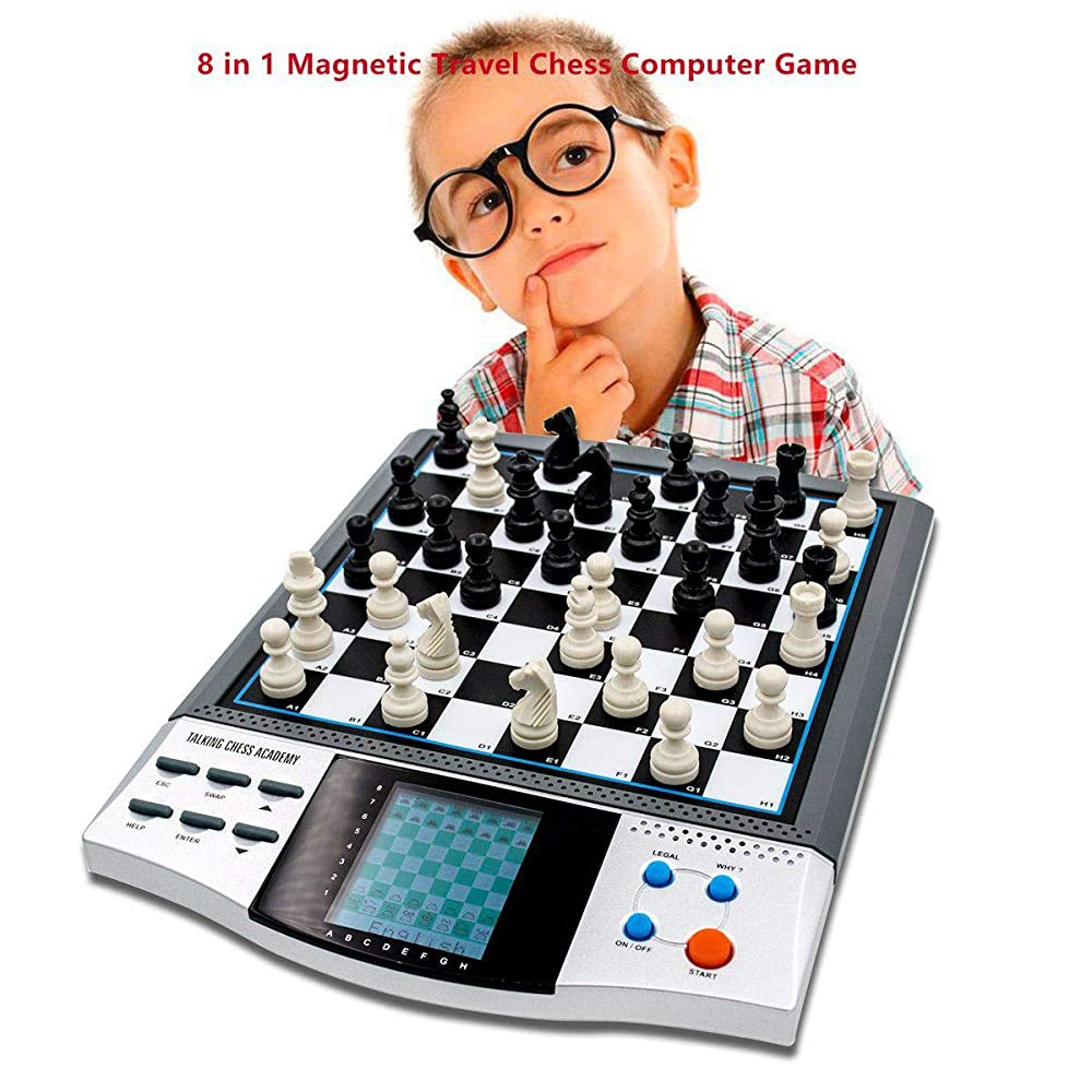 iCore Chess Set Boards Game, 8 in 1 Travelling Talking Electronic Chess Master Pro Tournament
