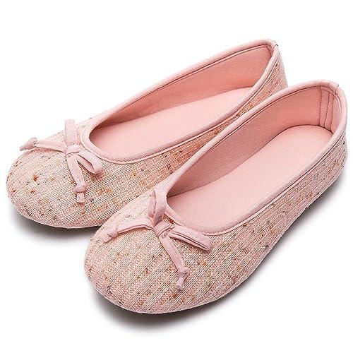 Wishcotton Womens Breathable Ballerina Slipper Closed Toe Slip On Slippers