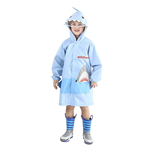 H/ÖTER Kids Rain Jacket//Raincoat 3D Shark Lightweight Rainwear for Boy for Girl