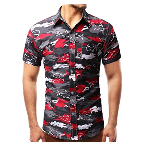 853e6a1e Buy OLUOLIN Men's Fashion Button Down Shirt - Short Sleeve Floral Print  Hawaiian Summer Clothes with Ubuy India. B07Q7H1139