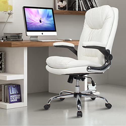Buy Yamasoro Ergonomic Executive Office Chair White High Back Leather Computer Chair Flip Up Arm Rests Office Desk Chairs With Wheels For Heavy People Online In India B06xbs6j8j
