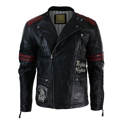 Mens Black Retro Leather Cross Zip Biker Racer Casual Fitted Badge Jacket