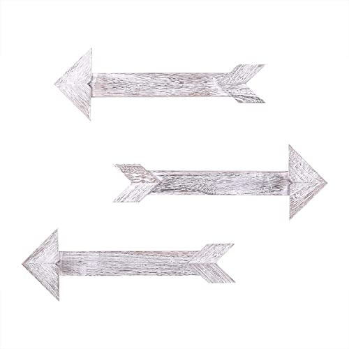 Comfify Arrow Barnwood Decorative Wooden Sign Set Of 3 Arrows For Wall Décor In Rustic White Wood Decorative Signs Rustic Home Décor Accents Double Sided Stickers Included