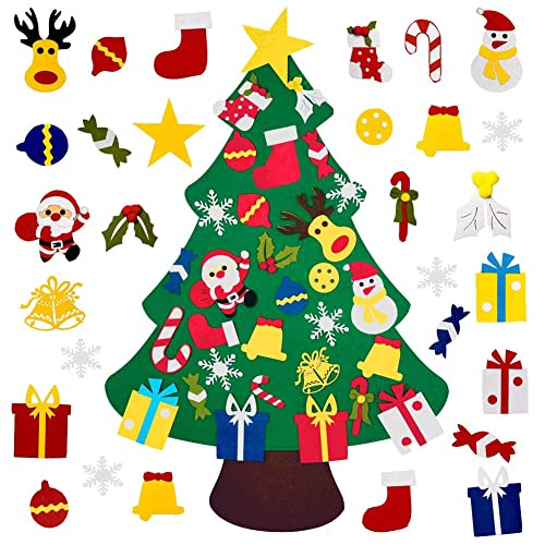 Buy Muxin Diy Felt Christmas Tree With 30pcs Ornaments Xmas Gifts For Kids New Year Handmade Christmas Door Wall Hanging Decorations Online In India B07wzghv39