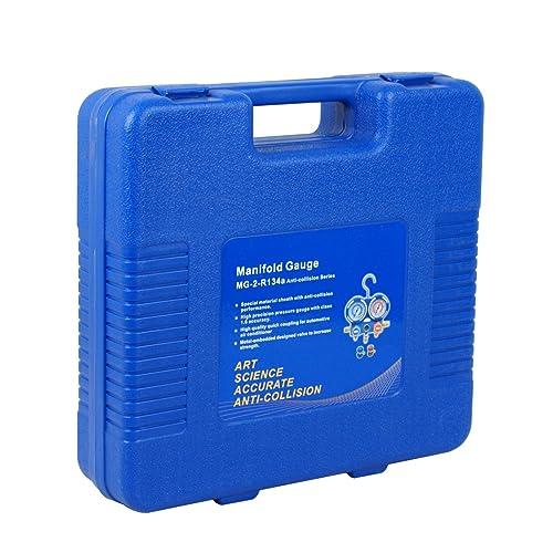 ZENY Diagnostic A//C Manifold Gauge Set R134a Refrigeration Kit Brass Auto Serivice Kit 4FT w//Case 1//4 SAE Fittings