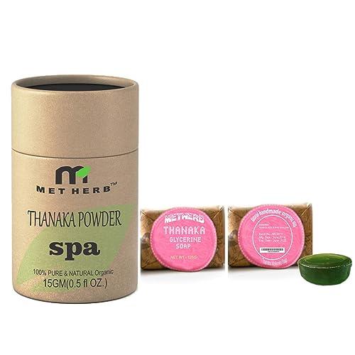 Metherb Thanaka Powder 15g With Thanaka Glycerine Soap 125 G For