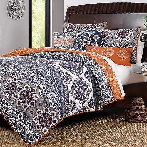 Boho Chic Moroccan Paisley Pattern, Gray And Orange Bedding