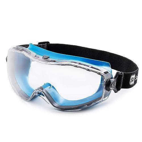 Safeyear Safety Glasses Work Goggles Lab Anti Fog UV Lens Strap LED Light Z87+
