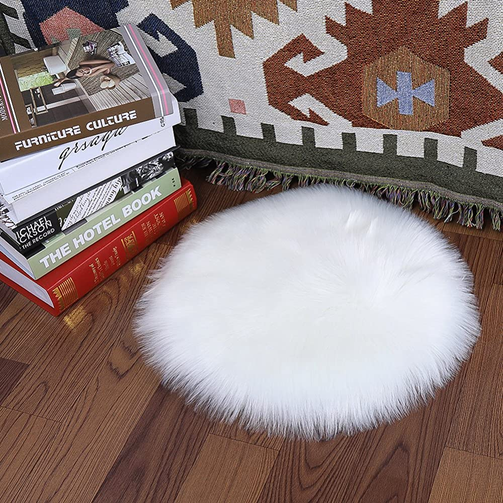Buy Softlife Round Faux Fur Sheepskin Chair Cover Seat