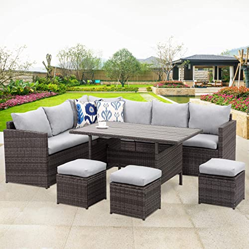 Wisteria Lane Patio Furniture Set, Outdoor Sectional Couch With Dining Table