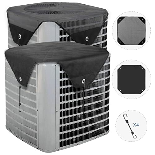 Black Heavy Duty Winter Top /& A//C Unit Protector for Central Units 28 /× 28 AC Defender with Bungee Cords for Outside Units Yesland Winter Proof Air Conditioner Cover