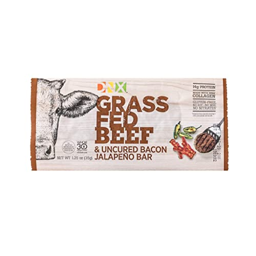 Buy DNX Grass Fed Beef & Uncured Bacon Jalapeno Bar, Organic High Protein  Bar Meat Snack, Keto, Paleo, Whole30, Gluten-Free, Dairy-Free, Grain-Free,  Nitrate-Free, Non-GMO, No Soy, Low Carb 8 Pack Online in